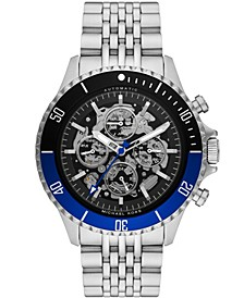 Men's Bayville Automatic Silver-Tone Stainless Steel Bracelet Watch 45mm
