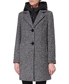 Tweed Bibbed Hooded Coat