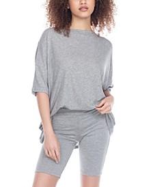 Women's Oversized T-shirt and Bike Shorts Pajama Set
