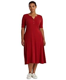 Plus-Size Cotton Henley Dress