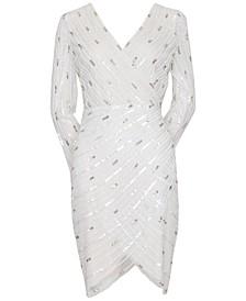 Embellished Surplice Sheath Dress