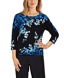 Women's Missy Battery Park Asymmetric Flowers Sweater
