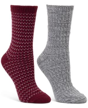 2-Pk. Speckle-Stripe & Ribbed Crew Boot Socks