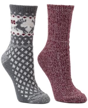 2-Pk. Fair Isle & Marled Crew Boot Socks