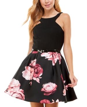 Juniors' Printed-Skirt Halter Dress