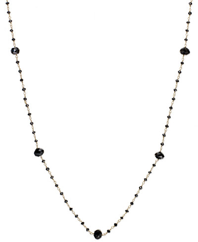 Black Diamond Station Necklace in 14k Gold (10 ct. t.w.)