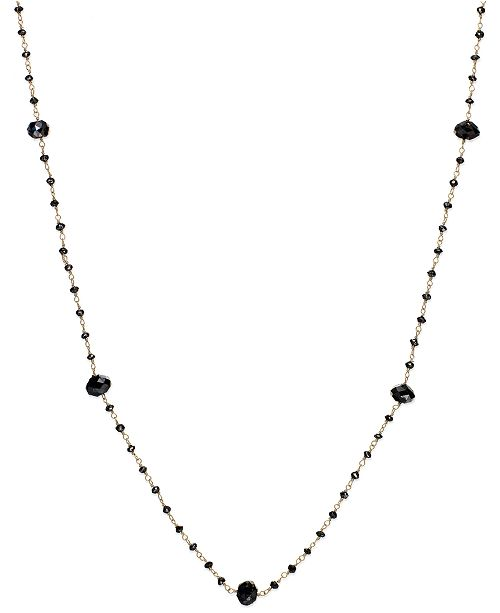 Macy's Black Diamond Station Necklace in 14k Gold (10 ct. t.w.)