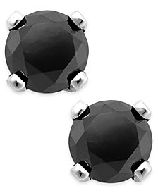 Black Diamond Round Stud Earrings in 10k White Gold (1/3 ct. t.w.)