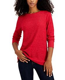 Metallic Waffle-Knit Sweater