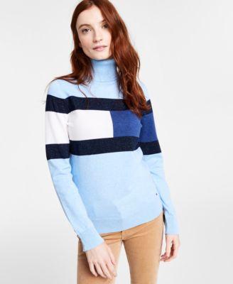 Colorblocked Flag Turtleneck Sweater