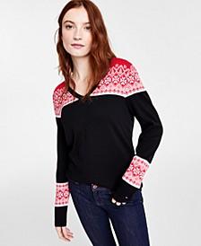 Cotton V-Neck Fair Isle Sweater