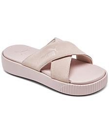 Women's Platform Suede Slide Sandals from Finish Line