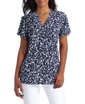 Women's Short Sleeve V-Neck Knit Top