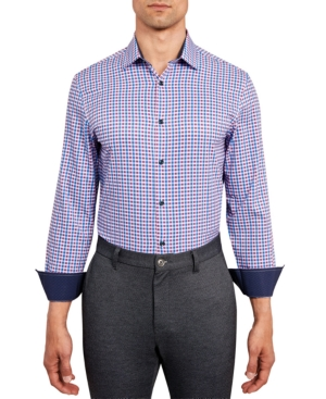Con. Struct Men's Slim-Fit Performance Stretch Allover Geometric Check Print Dress Shirt