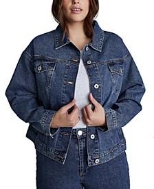 Trendy Plus Size 90s Baggy Denim Jacket