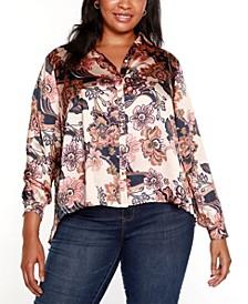 Black Label Plus Size Floral Pleated Back Blouse
