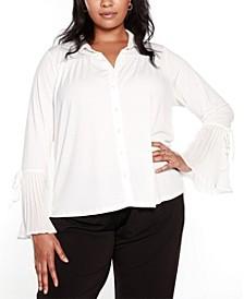 Black Label Plus Size Bell Sleeve Button Front Blouse