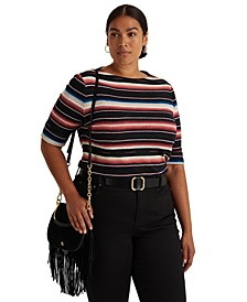 Plus-Size Blanket-Stripe Boatneck Top