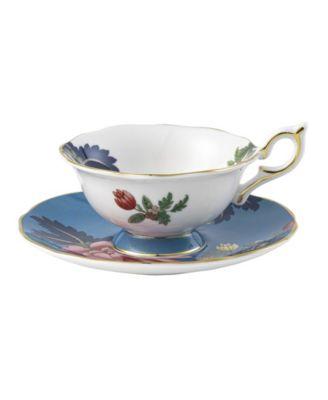 Wonderlust Sapphire Garden 2 Piece Teacup Saucer Set