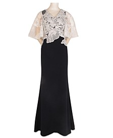 Lace-Overlay Gown