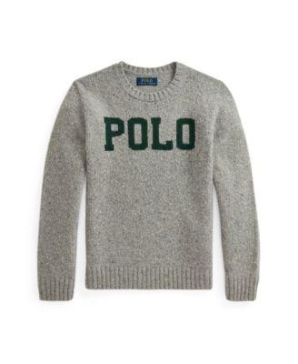 폴로 랄프로렌 Polo Ralph Lauren Big Boys Logo Wool-Blend Sweater,Gray Donegal