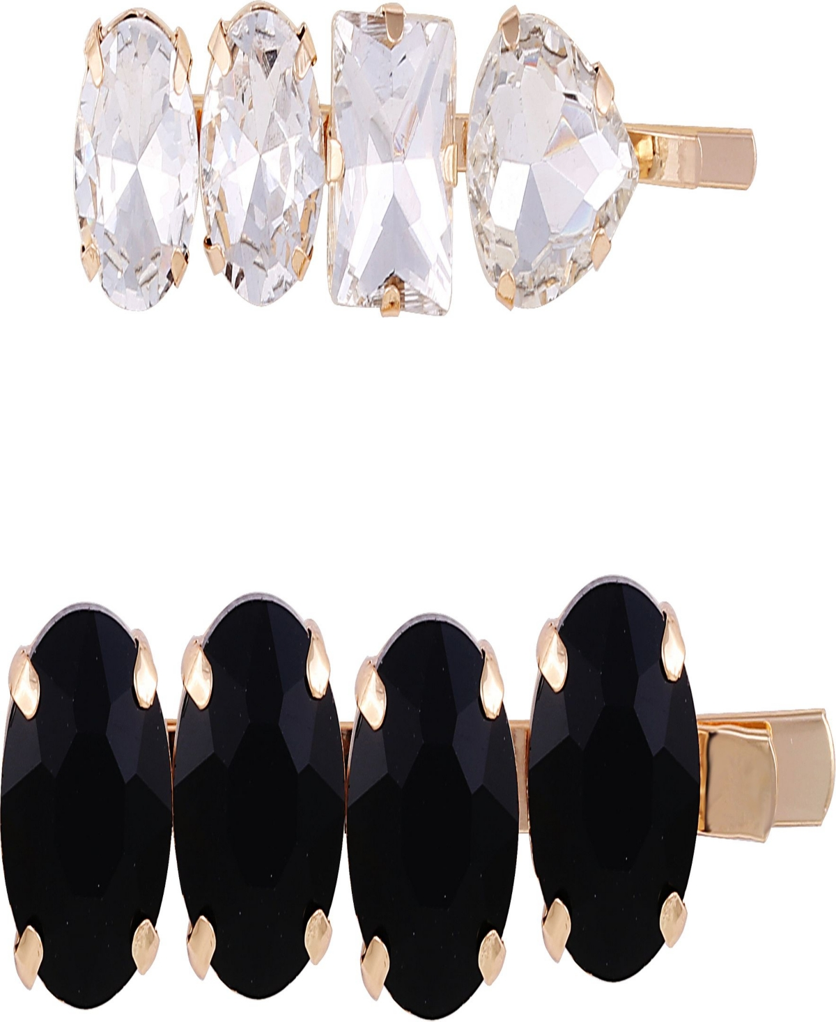Gold-tone with crystal and jet set of 2 hair pins