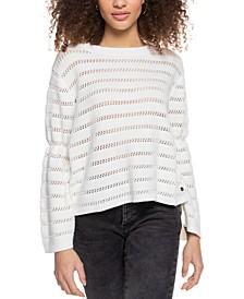 Juniors' Striped Bell-Sleeve Sweater