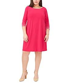 Plus Size Faraj Embellished-Sleeve Sheath Dress