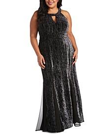 Plus Size Glitter Velvet Halter Gown