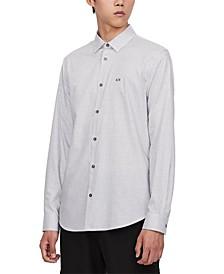 Men's Geo-Patterned Small Logo Long-Sleeve Shirt