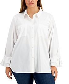 Plus Size Button-Front Tie-Sleeve Blouse