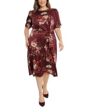 Plus Size Belted Satin Midi Dress