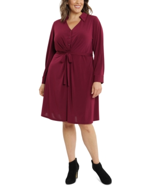 Plus Size Collared Jersey Dress