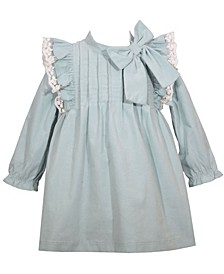 Baby Girls Corduroy Dress with Lace Trimmed Pinafore Ruffles, Bow and Matching Panty, 3 Piece Set