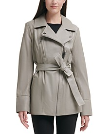 Petite Asymmetrical Belted Leather Jacket