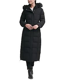 Petite Faux-Fur-Trim Hooded Maxi Puffer Coat