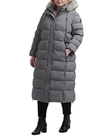 Plus Size Faux-Fur Trim Hooded Maxi Puffer Coat