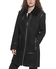 Petite Faux-Fur-Trim Moto Walker Coat