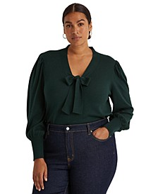 Plus-Size Cotton-Blend Puff-Sleeve Sweater