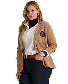 Plus-Size Bullion-Crest Knit Blazer
