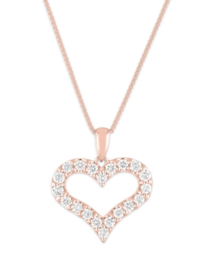 """Lab Grown Open Heart 18"""" Pendant Necklace (1/2 ct. t.w.) in Sterling Silver"""
