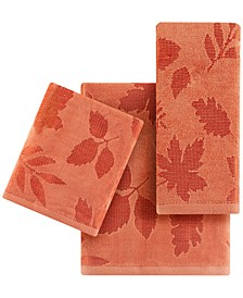 Carved Leaves Towels, Created for Macy's