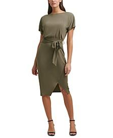 Boatneck Tie-Waist Sheath Dress