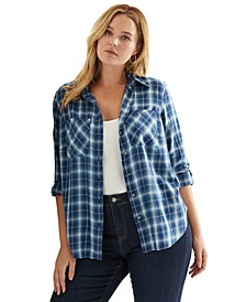 Plus-Size Plaid Roll-Tab-Sleeve Twill Shirt