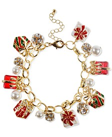 Gold-Tone Crystal, Bead & Imitation Pearl Gift Charm Bracelet, Created for Macy's