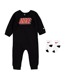 Baby Boys 2 Piece Block Logo Coveralls and Socks Set