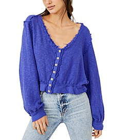 Golden Road Ruffled Button-Front Cardigan