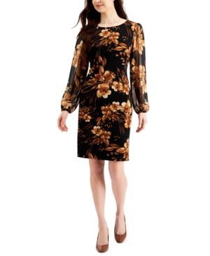Sheer-Sleeve Floral Print Dress