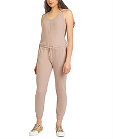 Snap-Front Ribbed Jumpsuit