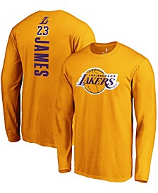 Men's Lebron James Gold Los Angeles Lakers Team Playmaker Name and Number Long Sleeve T-shirt
